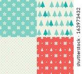 vector set of four christmas... | Shutterstock .eps vector #163973432