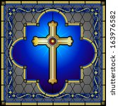 stained glass cross on... | Shutterstock . vector #163976582