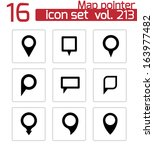vector black map pointer icons... | Shutterstock .eps vector #163977482