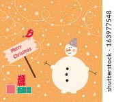 cute snowman with presents and... | Shutterstock .eps vector #163977548