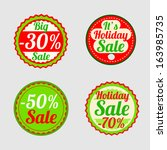 stickers with sale messages  | Shutterstock .eps vector #163985735