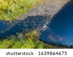 Aerial View Of A Fast River In...