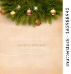christmas decoration on old... | Shutterstock .eps vector #163988942