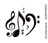 treble clef and note | Shutterstock . vector #163994045