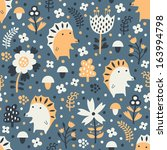 hedgehog seamless pattern | Shutterstock .eps vector #163994798