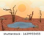 cartoon color dry land scene... | Shutterstock .eps vector #1639955455