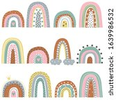 set of various rainbows. modern ... | Shutterstock .eps vector #1639986532