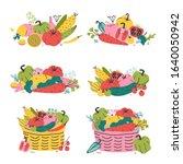 vegetables in wicker baskets ...   Shutterstock .eps vector #1640050942