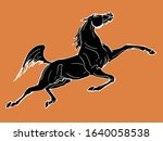 galloping horse  drawing in the ... | Shutterstock .eps vector #1640058538