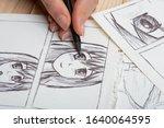 Artist drawing an anime comic...