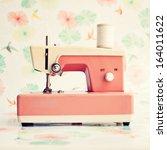 Coral Vintage Sewing Machine