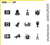 music icons set with hand bell  ...
