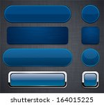 set of blank dark blue buttons... | Shutterstock .eps vector #164015225