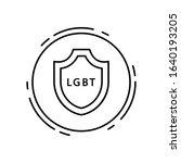 shield  lgbt icon. simple line  ...