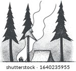 the concept of camping. dotwork.... | Shutterstock .eps vector #1640235955