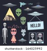 collection of alien design... | Shutterstock .eps vector #164025992