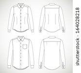blank men's and women's shirt... | Shutterstock .eps vector #164028218