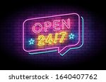 open 24 7 sign in neon style on ... | Shutterstock .eps vector #1640407762