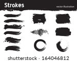 set of strokes executed in a... | Shutterstock .eps vector #164046812