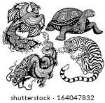 dragon  phoenix  turtle and... | Shutterstock .eps vector #164047832