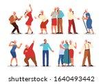 senior people singing karaoke... | Shutterstock .eps vector #1640493442