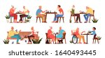 old people play chess set.... | Shutterstock .eps vector #1640493445