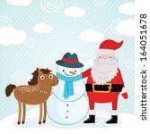 christmas horse  santa claus...   Shutterstock .eps vector #164051678