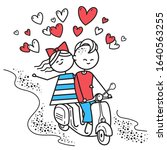 lovers boy and girl ride on gas ... | Shutterstock .eps vector #1640563255