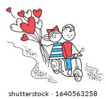 lovers boy and girl ride on gas ... | Shutterstock .eps vector #1640563258