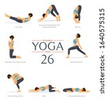 Set Of 8 Yoga Poses In Flat...