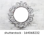 Stock photo rustic wooden round frame on grey background copy space your text here 164068232