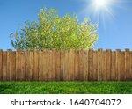 wooden garden fence at backyard ... | Shutterstock . vector #1640704072