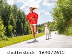 young athletic woman running on ... | Shutterstock . vector #164072615