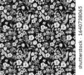 floral black and white seamless ... | Shutterstock .eps vector #1640738065