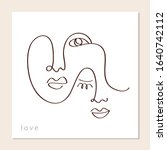 linear abstract couple faces.... | Shutterstock .eps vector #1640742112