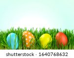 different colored easter eggs... | Shutterstock . vector #1640768632