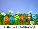 different colored easter eggs... | Shutterstock . vector #1640768638