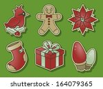 red holiday clip art bundle   Shutterstock .eps vector #164079365