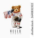 hello slogan with bear toy in...   Shutterstock .eps vector #1640832322
