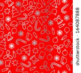 seamless silver foil on red... | Shutterstock .eps vector #164087888