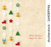 vintage christmas card | Shutterstock .eps vector #164089946