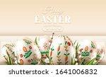 modern easter folk banner. eggs ... | Shutterstock .eps vector #1641006832