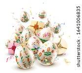 modern easter folk greeting... | Shutterstock .eps vector #1641006835