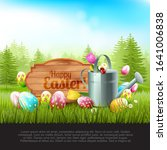 easter spring background with... | Shutterstock .eps vector #1641006838