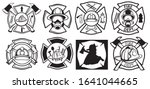 set of emblems for firefighters.... | Shutterstock .eps vector #1641044665