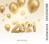 happy new year 2021. golden 3d... | Shutterstock .eps vector #1641046588
