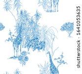 seamless pattern cobalt blue...   Shutterstock .eps vector #1641053635