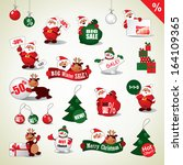 set of christmas stickers and... | Shutterstock .eps vector #164109365