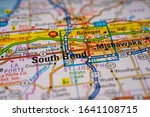 South Bend on USA travel map background
