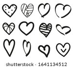black hearts on isolated white... | Shutterstock . vector #1641134512